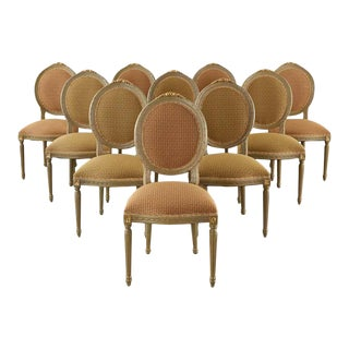 Set of Ten French Louis XVI Style Lacquered Dining Chairs For Sale
