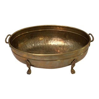 Vintage Solid Brass Handled Pedestal Oval Bowl For Sale