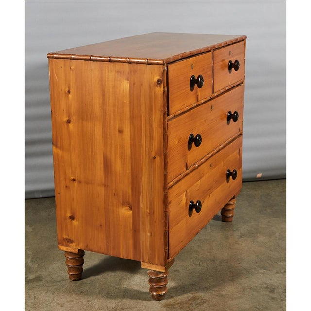 French Pine Faux Bamboo Chest of Drawers For Sale In Los Angeles - Image 6 of 9