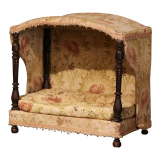 19th Century French Directoire Carved Oak Four-Post Dog House and Vintage Fabric For Sale