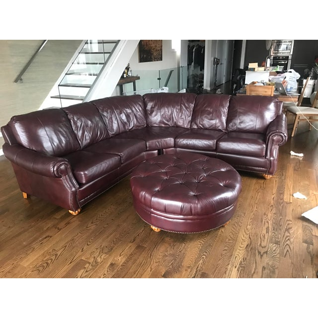 Italian Leather Sectional & Ottoman - Image 10 of 10