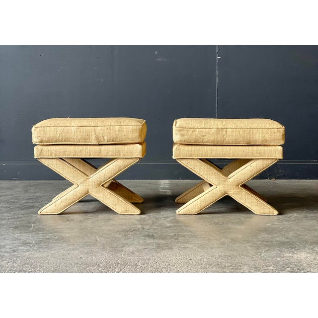 Beige Custom Vintage Grass Cloth X Stools a Pair For Sale - Image 8 of 8