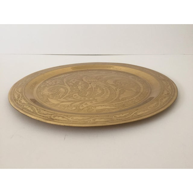 Vintage Mid Century Armenian Solid Brass Hand Etched Peacock Round Serving Tea Tray For Sale - Image 4 of 11
