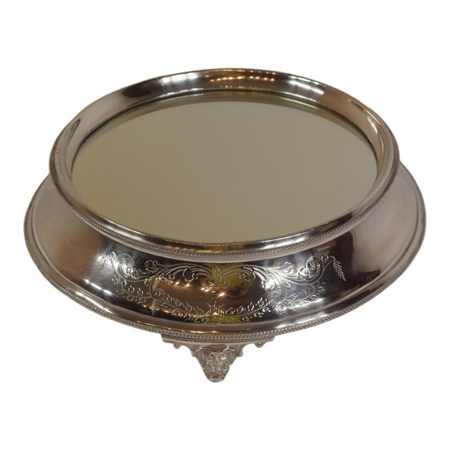 Late 1900's English Silver Plate Engraved Round Mirror Plateau For Sale