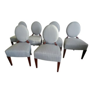Henredon Furniture Barbara Barry Walnut Oval Back Side Chairs - Set of 6 For Sale