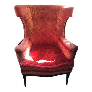 Vintage Bohemian Velvet Wingback Chair For Sale