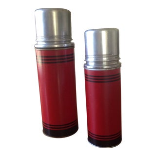Mid-Century Red & Black Glass Lined Thermoses - A Pair For Sale
