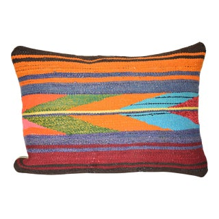 """Vintage Wool Turkish Kilim Pillow Cover 14"""" X 20"""" For Sale"""