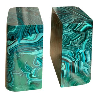 Vintage Malachite Mid Century 1970s Bookends - a Pair For Sale