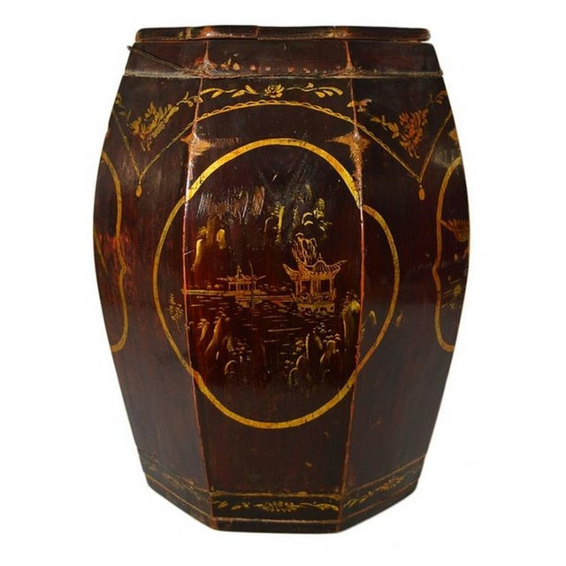 Asian Hand-Painted Grain Storage Barrel With Medallions From, China, 19th Century For Sale - Image 3 of 11