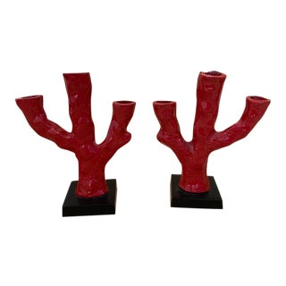 Vintage Mid Century Red Coral Metal Candlestick Holders - a Pair For Sale