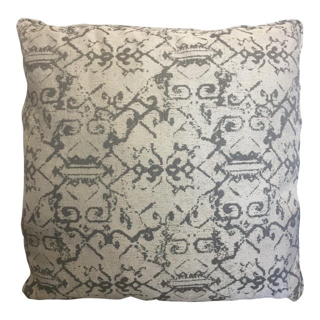 Grey White Ethnic Print Pillows - A Pair For Sale