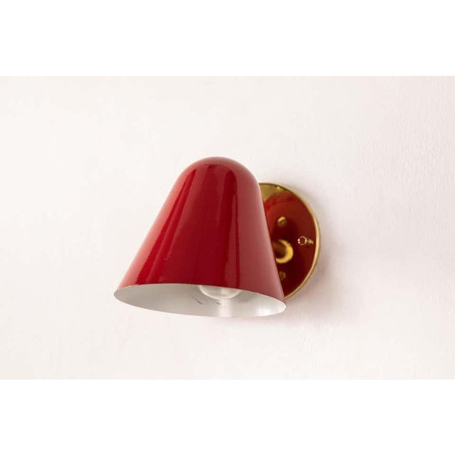 Metal 1950s Jacques Biny Red Wall Lights - a Pair For Sale - Image 7 of 13