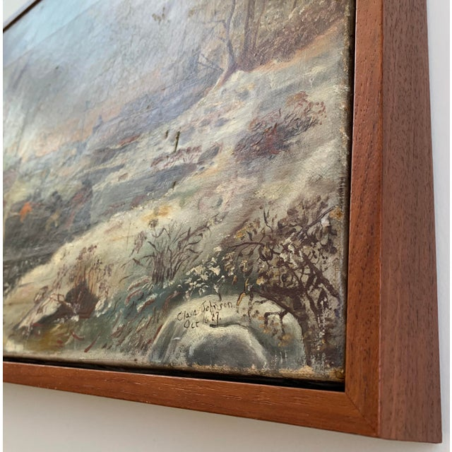 Folk Art 1887 Antique C. Johnson Oil on Canvas Painting For Sale - Image 3 of 12