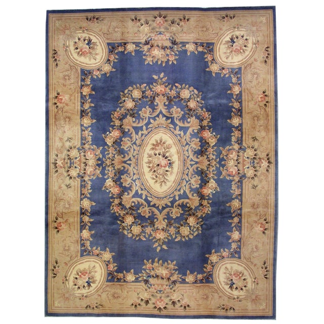 1930s Antique Chinese Art Deco Hand Made Rug- 9′ × 11′7″ - Image 1 of 8