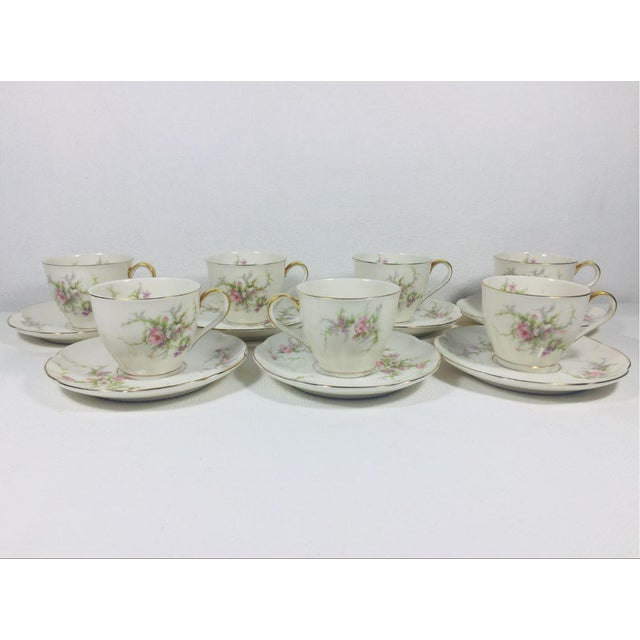 Theodore Haviland 1930s Haviland Rosalinde Demistasse Cups and Saucers Set of 14 For Sale - Image 4 of 12
