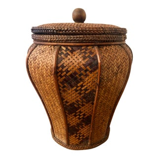 Vintage Monumental Handwoven Rattan and Wood Chinoiserie Island Tropical Boho Brittish West Indies Lidded Basket For Sale