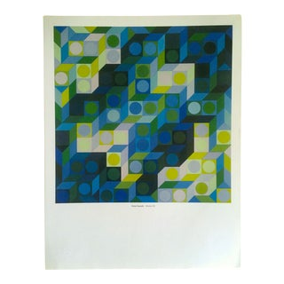"Victor Vasarely Vintage Op Art Modernist Geometric Lithograph Print "" Deuton - v.b. "" 1969 For Sale"