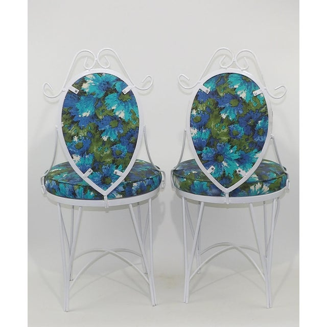 Mid-Century Modern Wrought Iron Patio Chairs - A Pair - Image 6 of 10