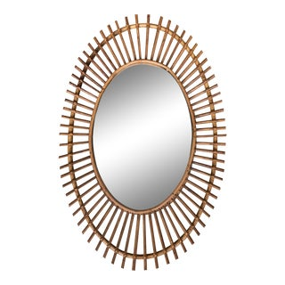 Italian Sunburst Rattan Wall Mirror For Sale