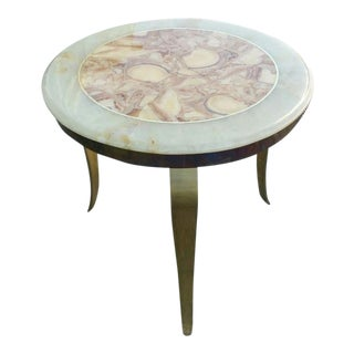 Mid-Century Modern Muller of Mexico Onyx Side Table W Curved Brass Legs