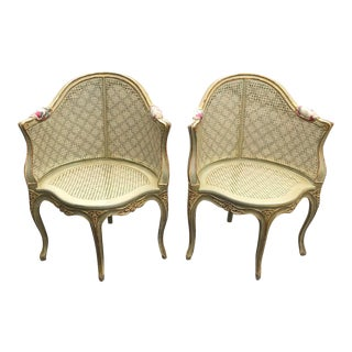 Vintage Louis XV Cane Fauteuil Armchairs - a Pair- We Will Sell Just 1 Chair if You Message For Sale