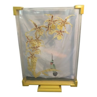 Hand Painted Lucite Screen of Hummingbird by Jacqueline Balliu For Sale