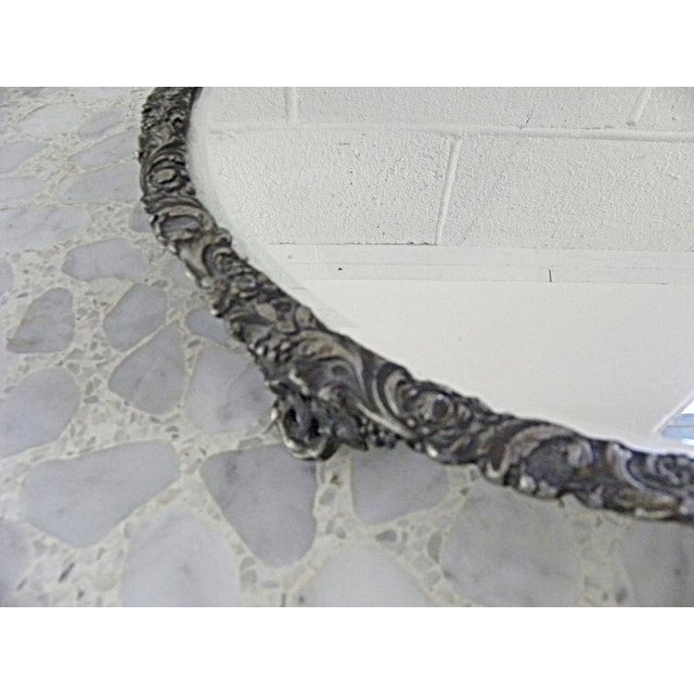 Vintage Mid Century Silver Mirror Dressing Vanity Tray For Sale - Image 4 of 7