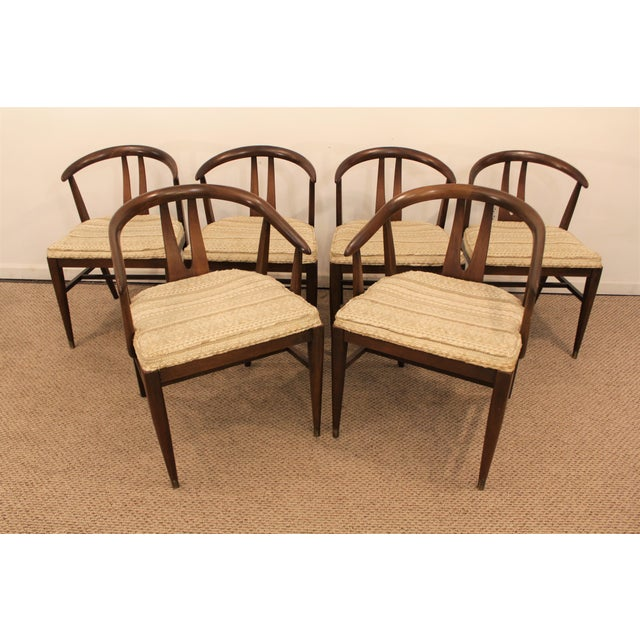 Curved-Back Walnut Dining Chairs - Set of 6 - Image 2 of 11