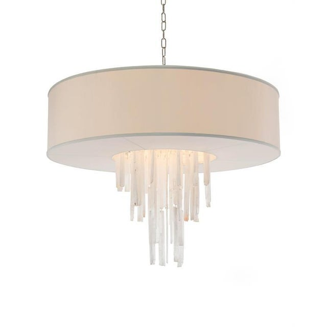 Selenite Drum Shade Chandelier For Sale - Image 4 of 4