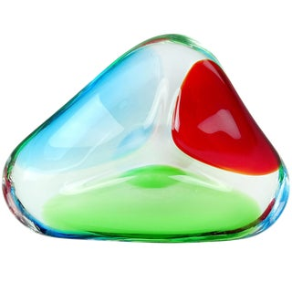 Formia Murano Signed Italian Red Green Blue Divided Art Glass Decorative Bowl For Sale
