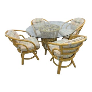 Brown Jordan Bentwood Rattan Patio Dining Table Chairs- 5 Pieces LAst Markdown Firm For Sale