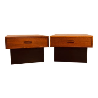 1970s Teak Low Side Tables, Pair For Sale
