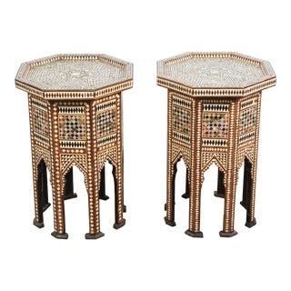 20th Century Syrian Octagonal Tables Inlay With Mother-Of-Pearl - a Pair For Sale