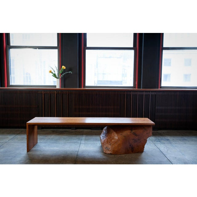 "This Modern, naturally ""Rustic"" Bench is inspired by the supporting ""log"" of Madrona burl. This remaindered core log, left..."
