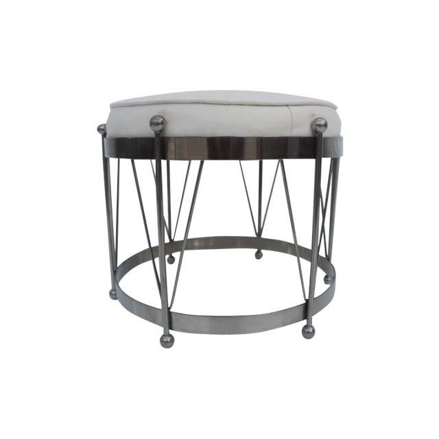 George Koch Mid-Century Vinyl & Chrome Drum Stool For Sale