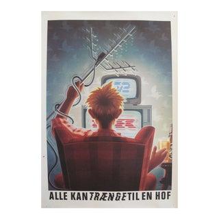 Original 1980's Danish Design Poster, Reaching for a Carlsberg