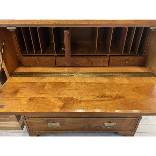 Wood Mount Airy Furniture Company Campaign-Style Mid Century Modern Secretary Chest For Sale - Image 7 of 13