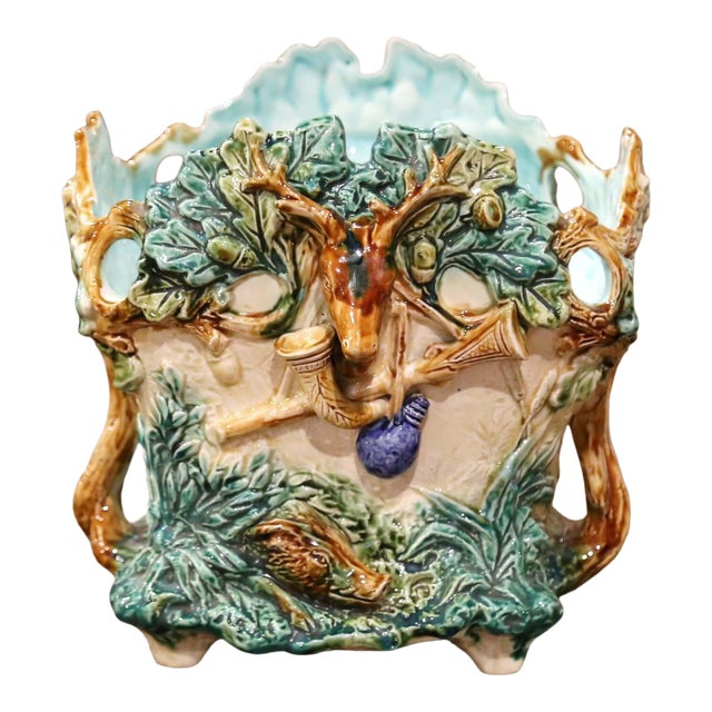19th Century French Painted Majolica Cachepot With Hunt Trophy Motifs For Sale