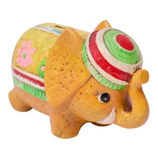Mid-Century Japanese Paper Mache Colorful Elephant Bank For Sale
