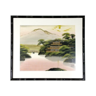1960's Vintage Traditional Chinoiserie Silk Painting For Sale