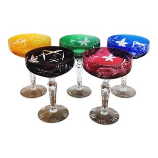 Bohemian Czech Cut to Clear Cocktail Glasses For Sale