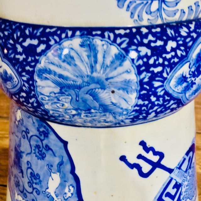 Ceramic 19th Century Antique Glazed Terracotta Japanese Blue & White Stand For Sale - Image 7 of 11