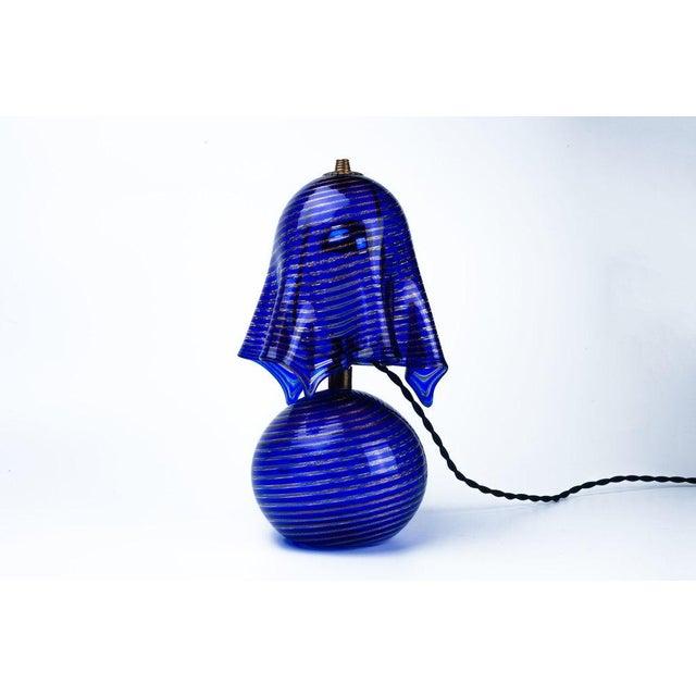 Italian Lamp La Murrina Murano Glass in Blue and Gold Swirl Reticcello, 1970s - Image 10 of 10