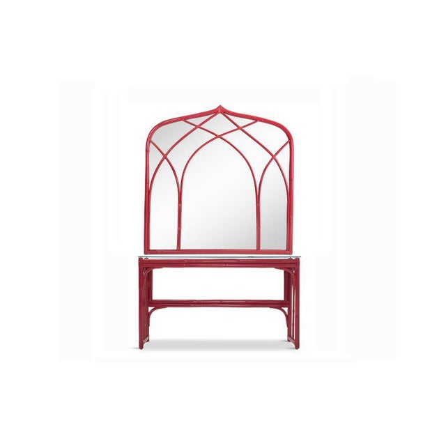 1970s Vanity Table With Large Mirror in Red Lacquered Bamboo For Sale - Image 5 of 13