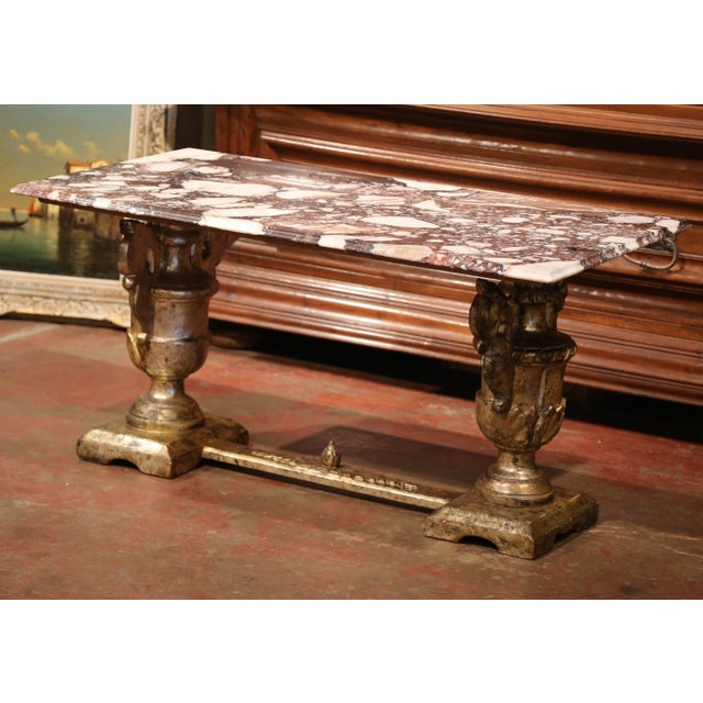 Marble And Silver Coffee Table.19th Century Italian Carved Silver Plated Coffee Table With Marble Top