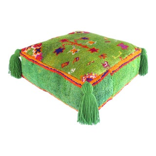 1980s Green Vintage Moroccan Pouf For Sale