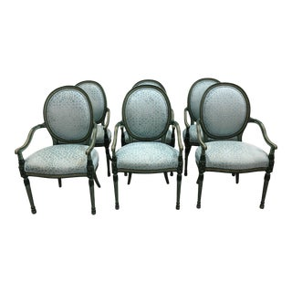 Louis Style Neoclassical Circle Back Arm Chairs - Set of 6 For Sale