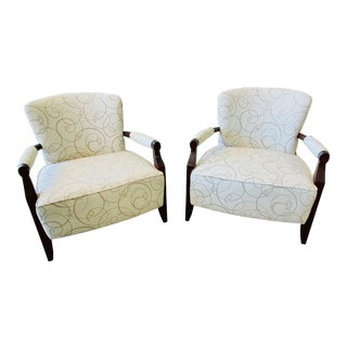 Henredon Furniture Barbara Barry Rolled Arm Walnut Flair Lounge/Club Chairs - Set of 2 For Sale