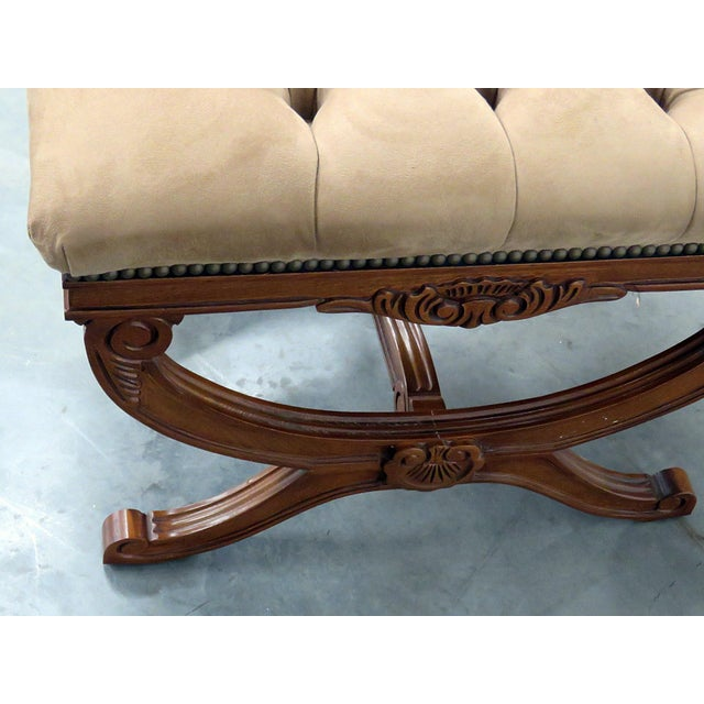 Brown Regency Style X Benches - a Pair For Sale - Image 8 of 11